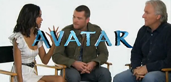 Zoe Saldana, Sam Worthington & James Cameron - Avatar