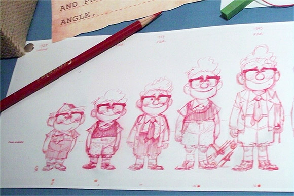 Sketches of Carl from Pixar's Up
