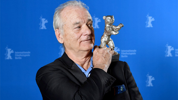 Bill Murray with the Golden Bear, accepting on behalf of Wes Anderson for Isle of Dogs