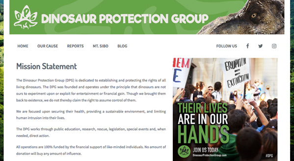 Dinosaur Protection Group Website