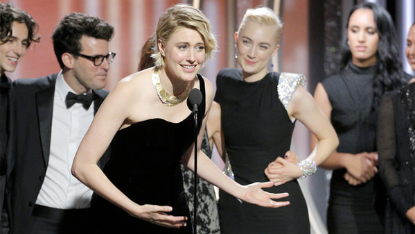 Greta Gerwig at the Golden Globes