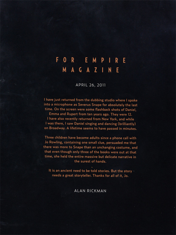Alan Rickman's Farewell to Harry Potter