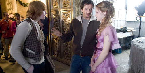 David Heyman producing on the Harry Potter set