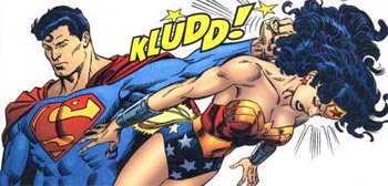 Superman Hitting Wonder Woman