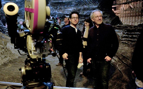 J.J. Abrams & Steven Spielberg on the set of Super 8