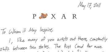 My cover letter to pixar