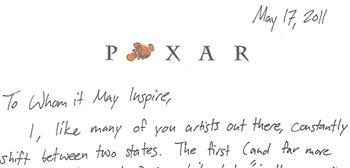 Pixar Letter