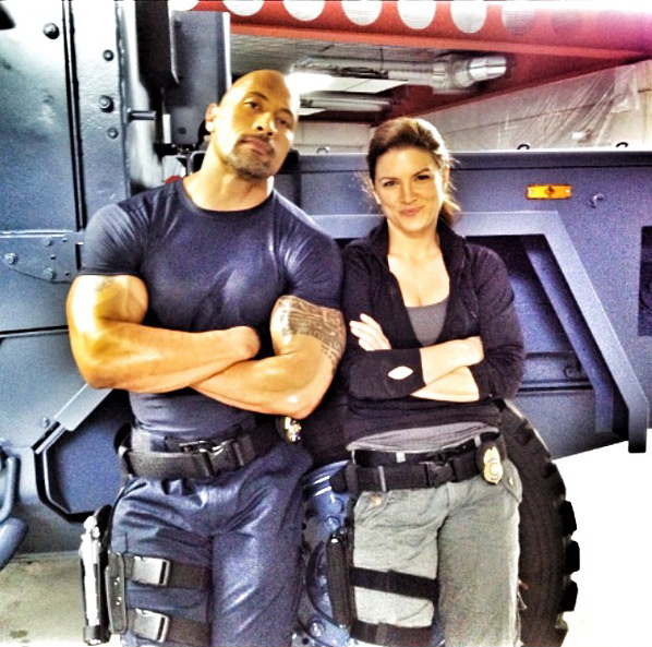 Gina Carano & Dwayne Johnson in Fast Six