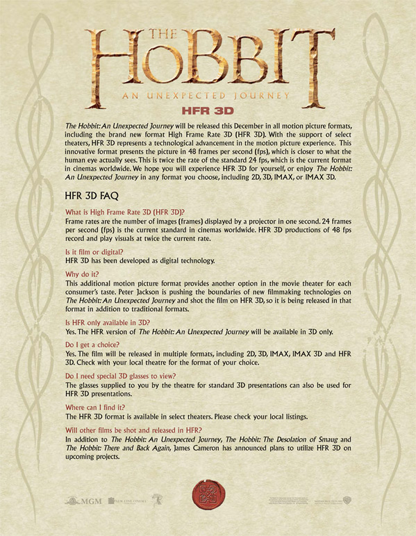 The Hobbit HFR 3D FAQ