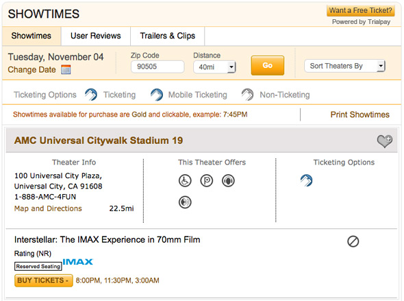Interstellar IMAX Showtimes