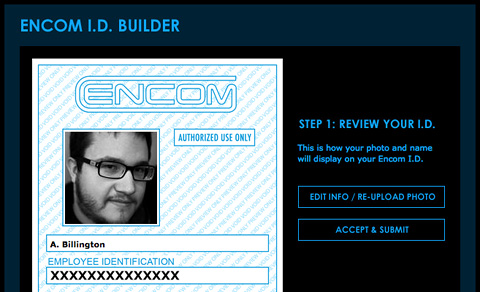 Encom ID Badge Screenshot