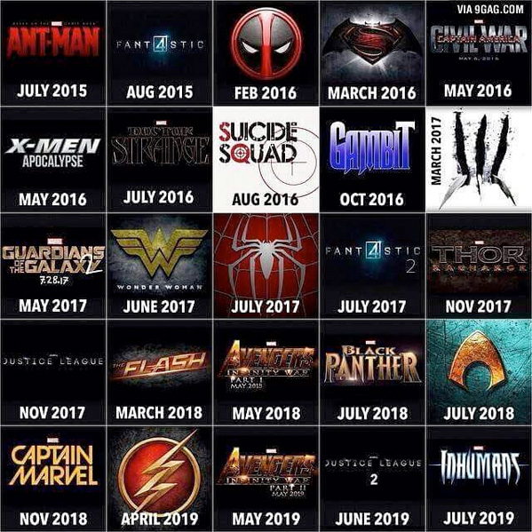 Superhero Movies - Next Four Years