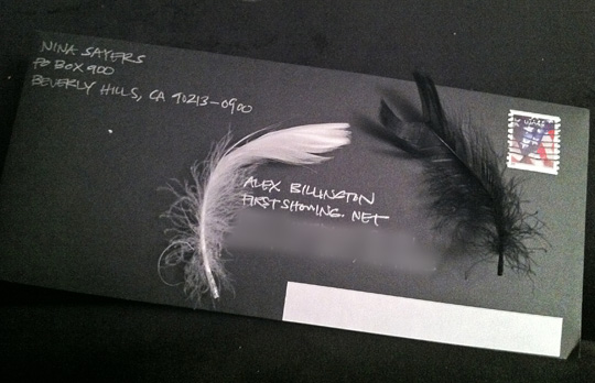 Black Swan Feather Envelope Mail
