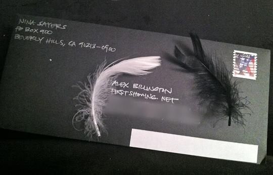 Black Swan Feather Envelope Mail