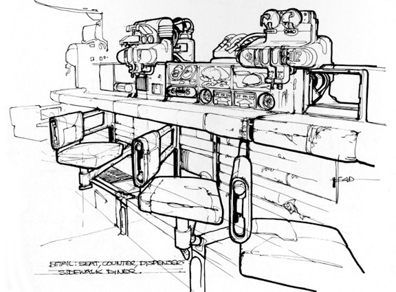 Blade Runner Concept Art - Sidewalk Diner