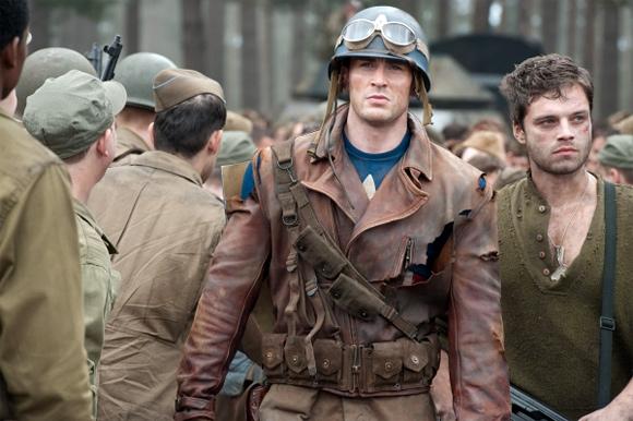 Chris Evans & Sebastian Stan as Bucky in Captain America
