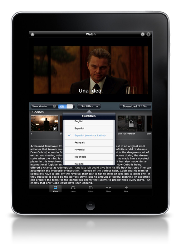 Inception App Edition on iPad