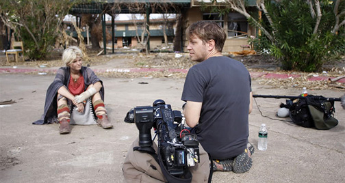Gareth Edwards and Whitney Able on the set of Monsters