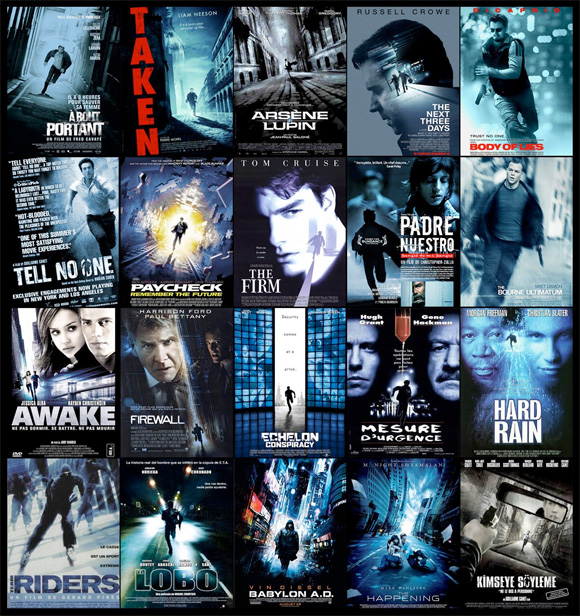 Movie Poster Trends - Blue Action Movies