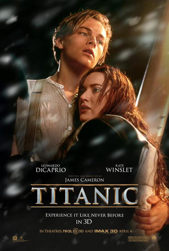 Leonardo DiCaprio & Kate Winslet on the Titanic 3D Poster
