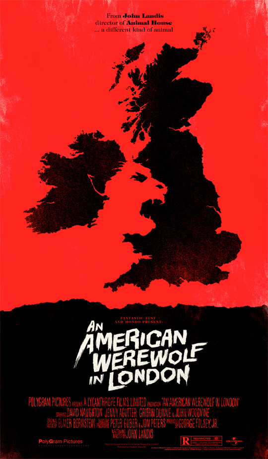 Olly Moss' An American Werewolf in London Poster