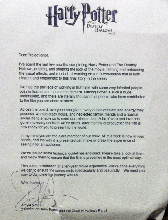 David Yates' Letter to Projectionists