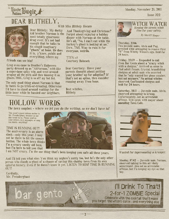 ParaNorman Newspaper