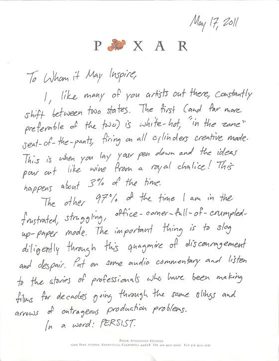 Pixar Animator Inspirational Letter
