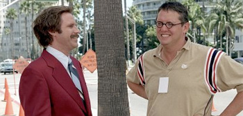 Will Ferrell and Adam McKay on Anchorman Set