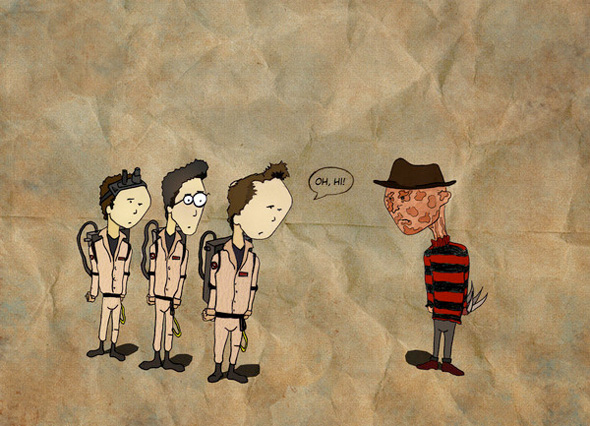 Oh Hi - Ghostbusters and Freddy Krueger