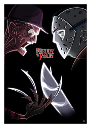 Cartoon Movie Posters - Freddy vs. Jason