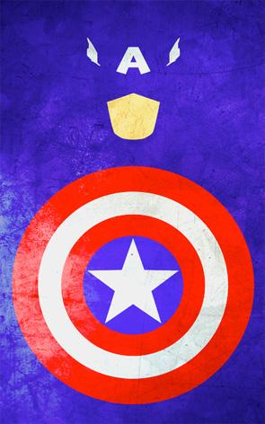 Minimalist Superhero Poster - Captain America
