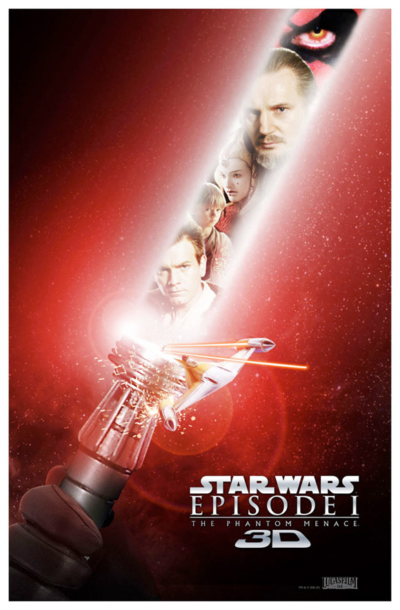 Star Wars Episode I: The Phantom Menace in 3D - Red Lightsaber Poster