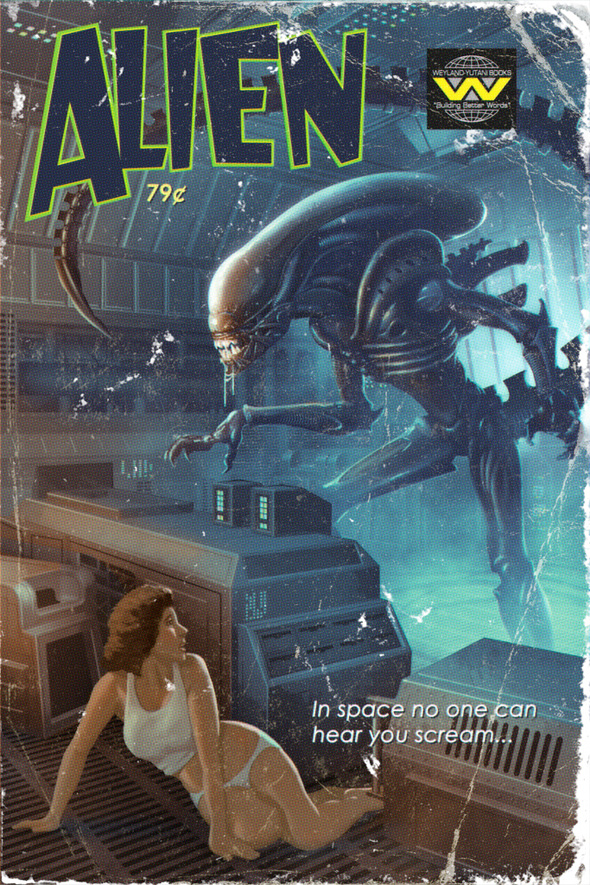 Pulp Fiction Sci-Fi Posters - Alien