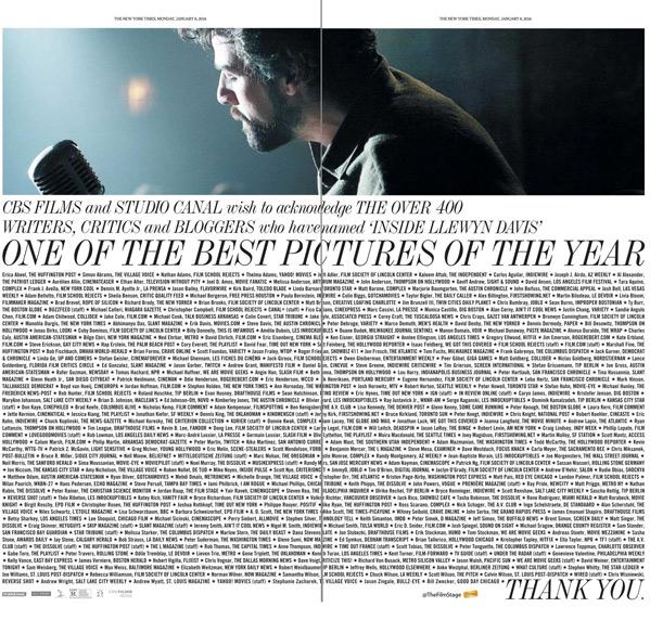 NY Times Ad - Inside Llewyn Davis Critics Names