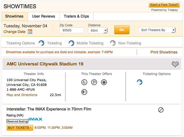 Interstellar IMAX Showtimes