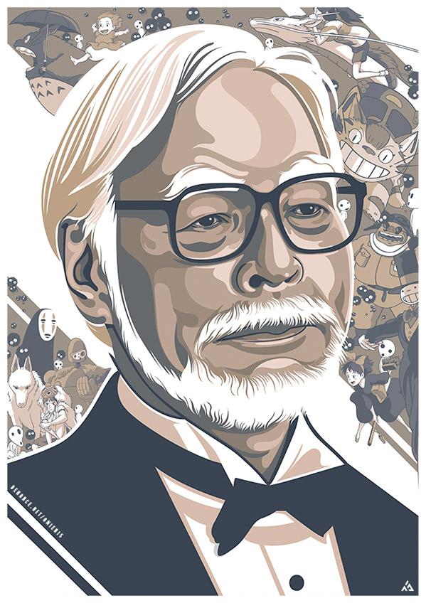 Hayao Miyazaki - Art by Amien Juugo
